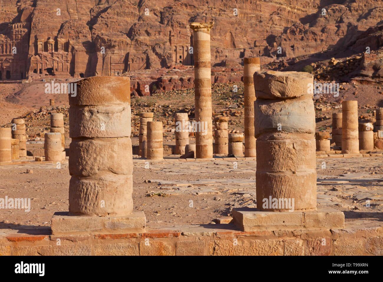 Il Templo Griego, Petra, Jordania, Oriente Medio Immagini Stock