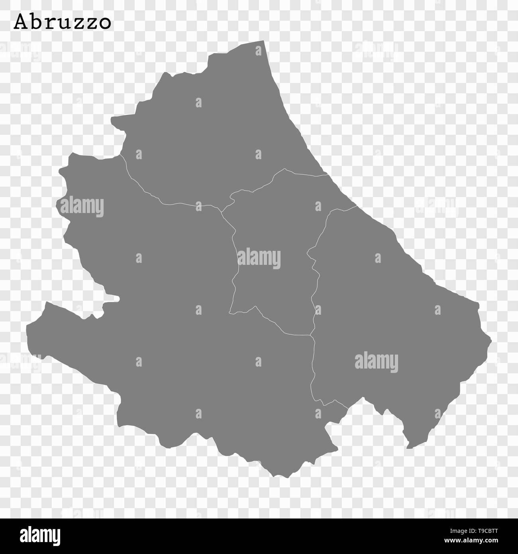 Cartina Dell Italia E I Suoi Confini.Alta Qualita Mappa Di Abruzzo E Uno Stato D Italia Con I Confini Dei Distretti Immagine E Vettoriale Alamy