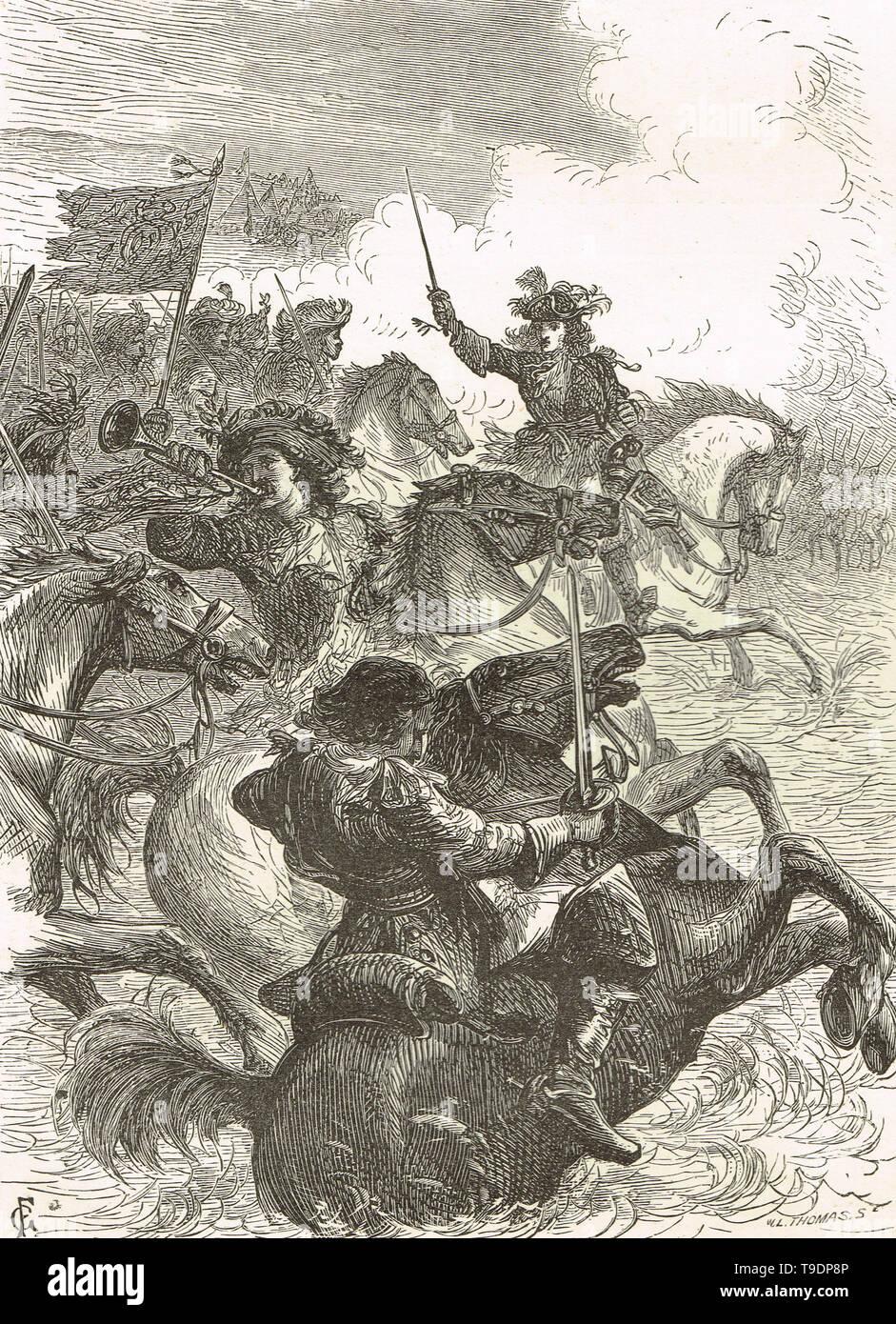Re Guglielmo III d'Inghilterra a cavallo presso il Centro Visitatori della Battaglia del Boyne 1690 Foto Stock