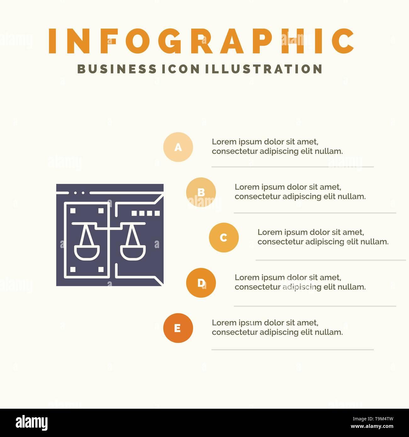 Business, Copyright, Corte, digitale, Legge Icona solido Infographics 5 Passi sfondo presentazione Illustrazione Vettoriale