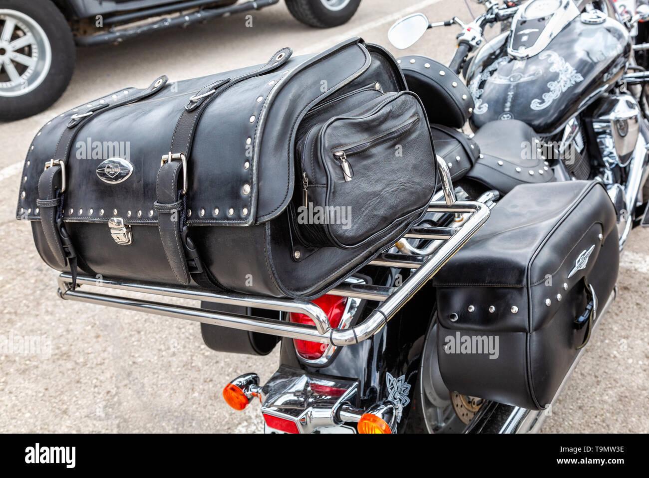Borse da Moto per Harley Cuoio Portautensili Laterale in Pelle Nero Snow-Day Borse da Sella Moto