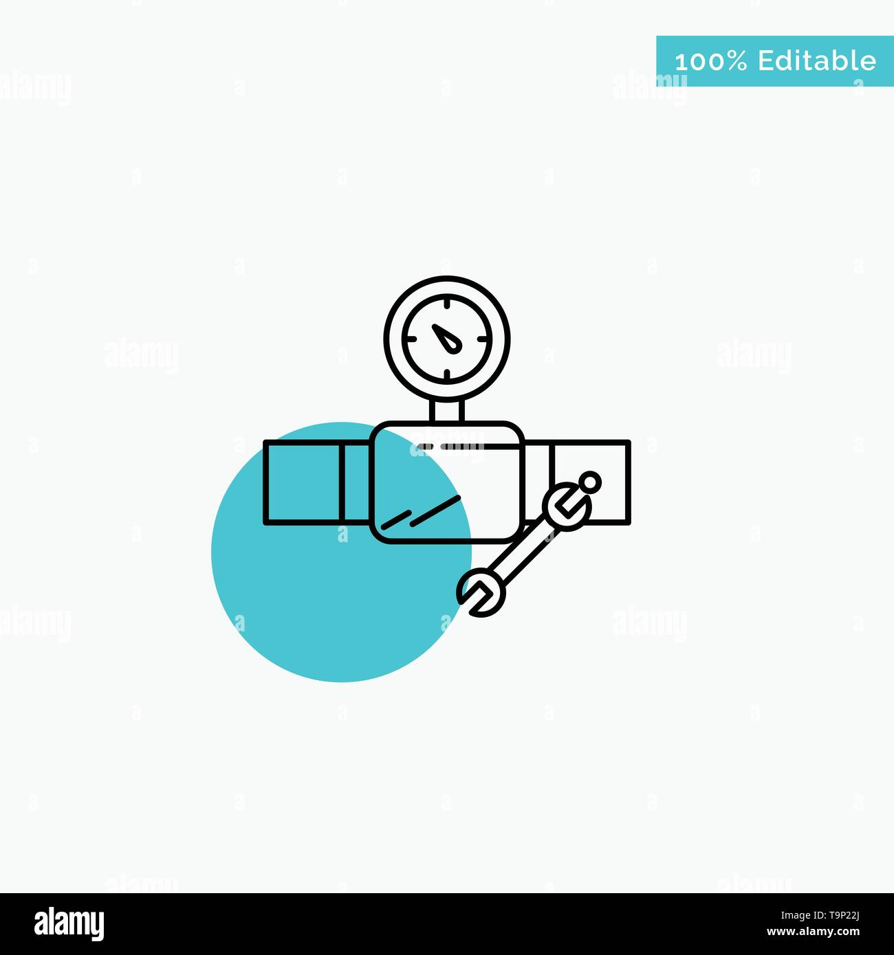 Tubo, la costruzione, la costruzione, la riparazione, Gage turchese evidenziare punto cerchio icona Vettore Immagini Stock