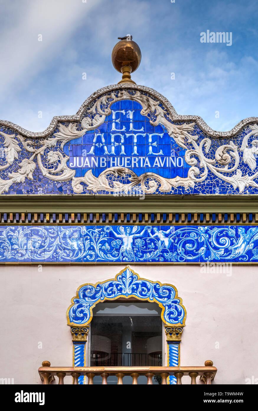 Facciata di El Arte antica fabbrica di ceramiche, Valencia, Comunidad Valenciana, Spagna Immagini Stock