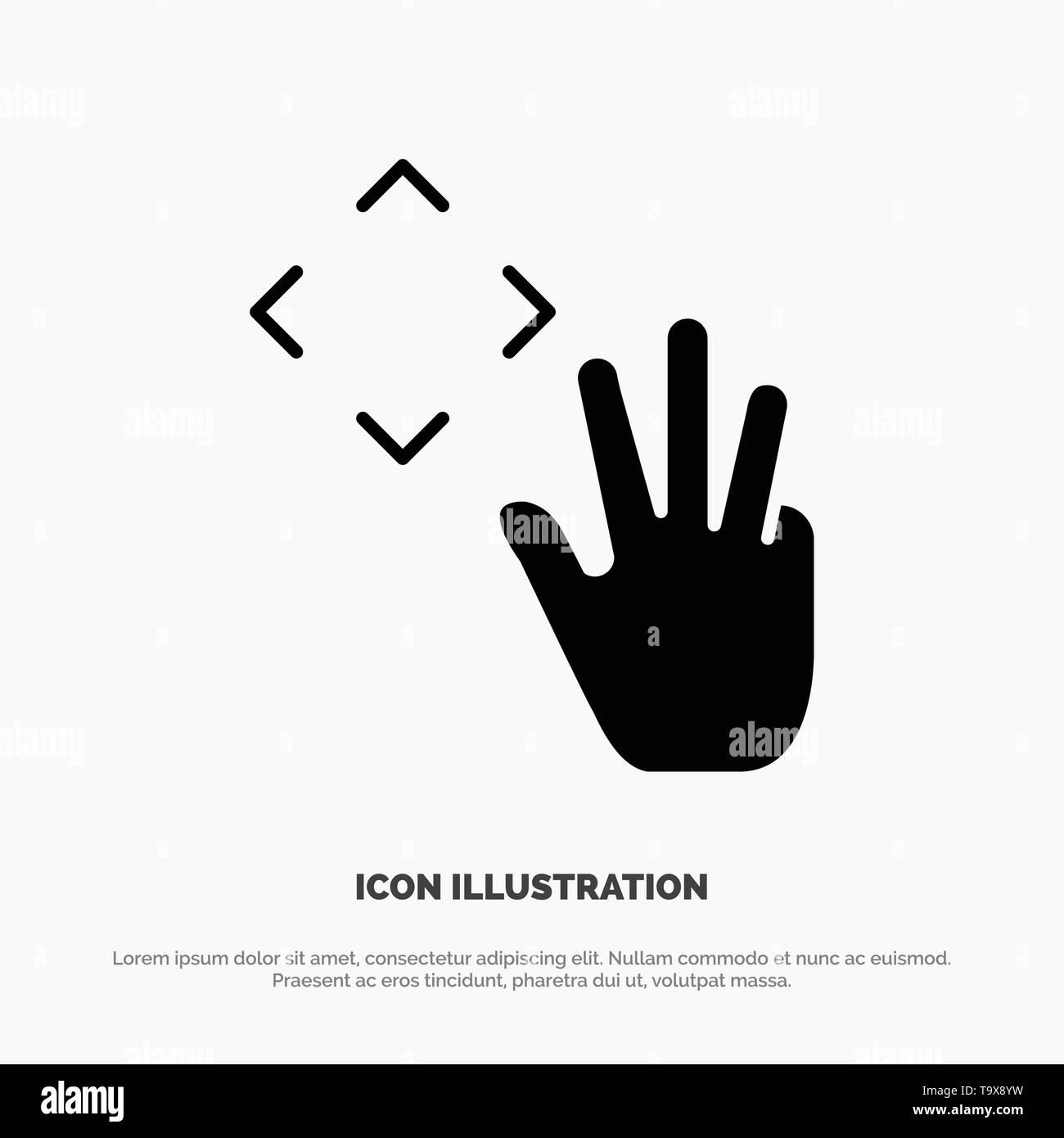 Mano, il cursore a forma di mano, fino, groppa solida Icona Glyph vettore Immagini Stock