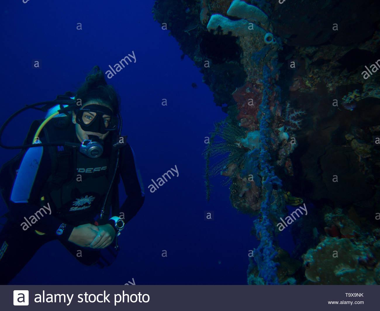 Donna scuba diver underwater godendo la barriera corallina del Parco Nazionale di Bunaken, Sulawesi, Indonesia Immagini Stock