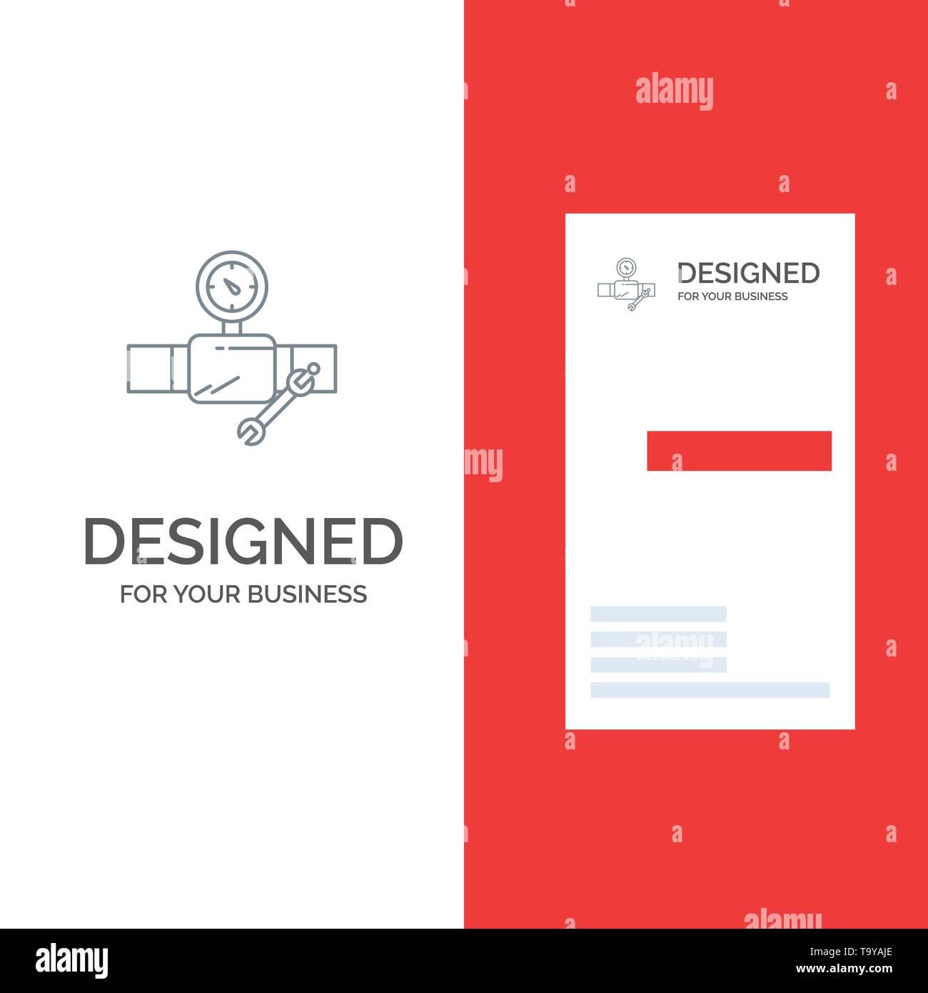 Tubo, la costruzione, la costruzione, la riparazione, Gage grigio Logo Design e Business Card Template Immagini Stock