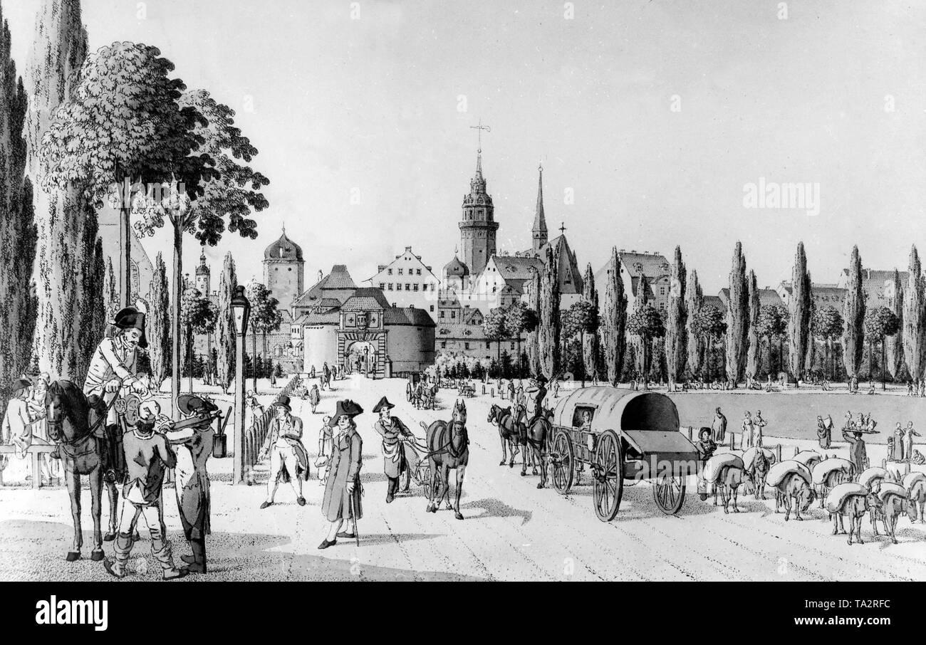 Il Leipzig City Gate intorno al 1800. Incisione di Christian Gottlob Heinrich Geissler Immagini Stock