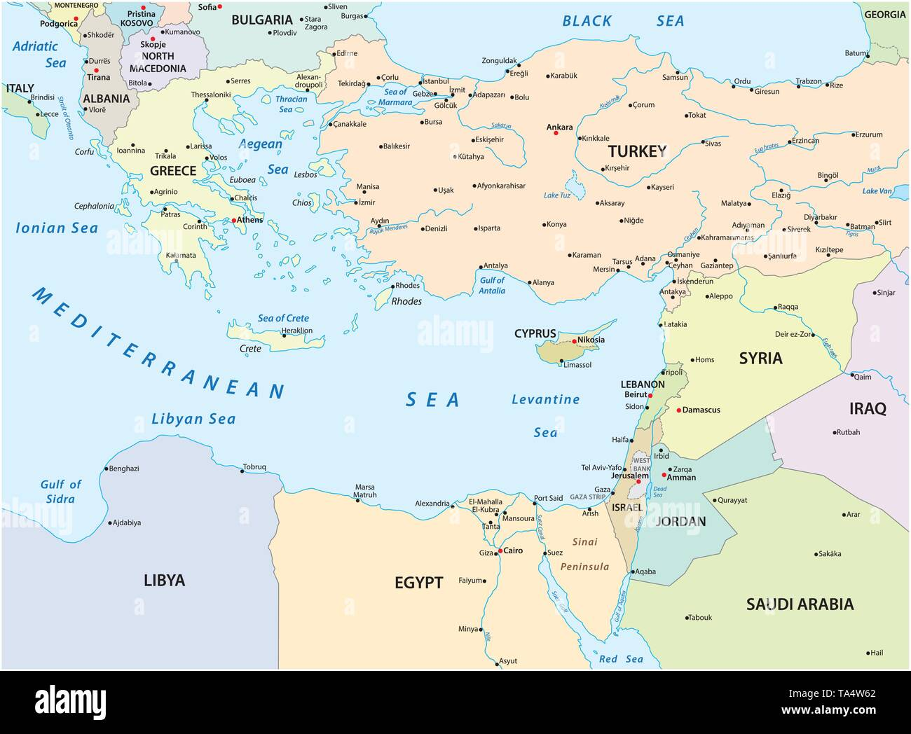 Cartina Geografica Mediterraneo Orientale.Mappa Mediterranea Immagini E Fotos Stock Alamy