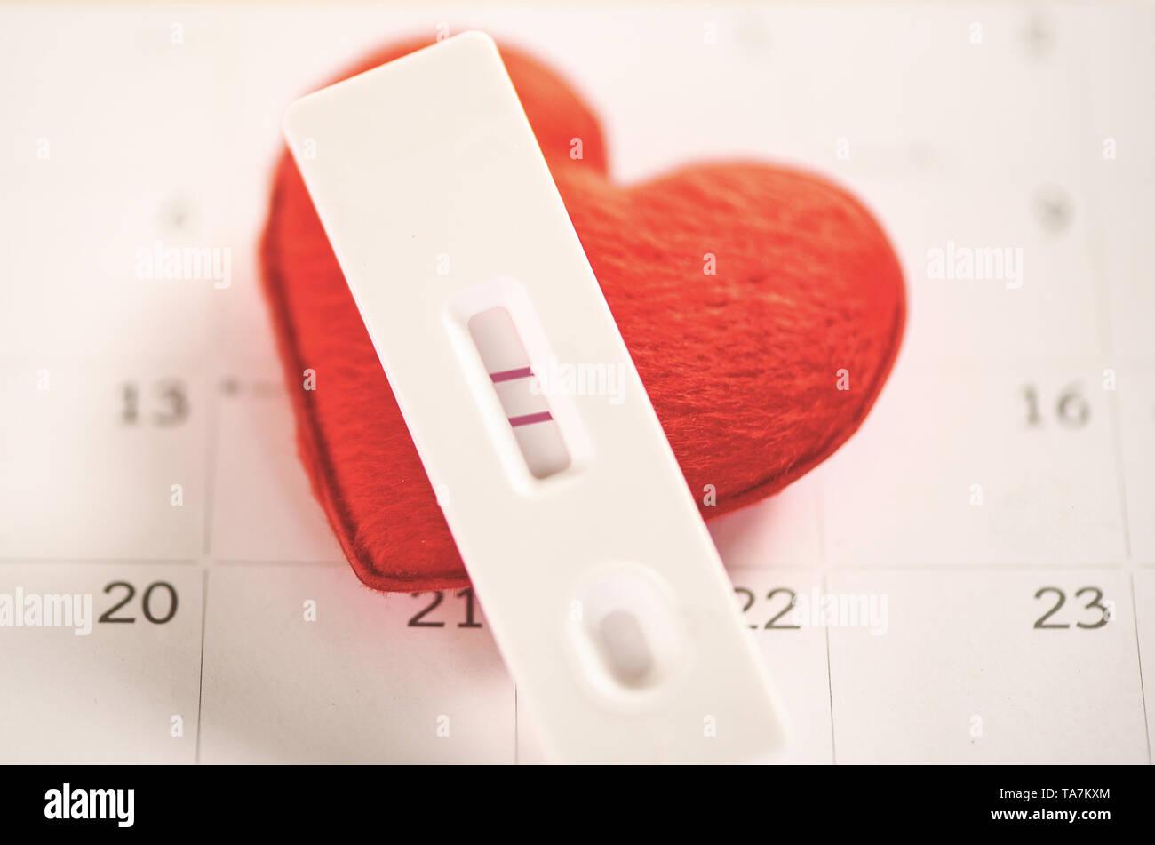 Calendario Maternita.I Test Di Gravidanza La Donna Incinta Concetto Risultato