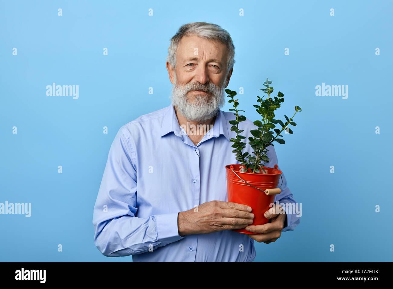 Genere positivo vecchio uomo barbuto holding pentola floreale con pianta verde casa e guarda la telecamera. Tempo libero, hobby, tempo di ricambio Immagini Stock