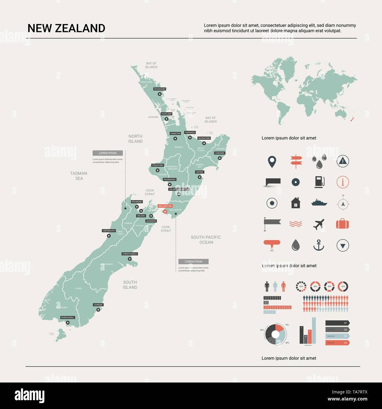 Nuova Zelanda Cartina Mondo.Mappa Vettoriale Della Nuova Zelanda Mappa Del Paese Con La