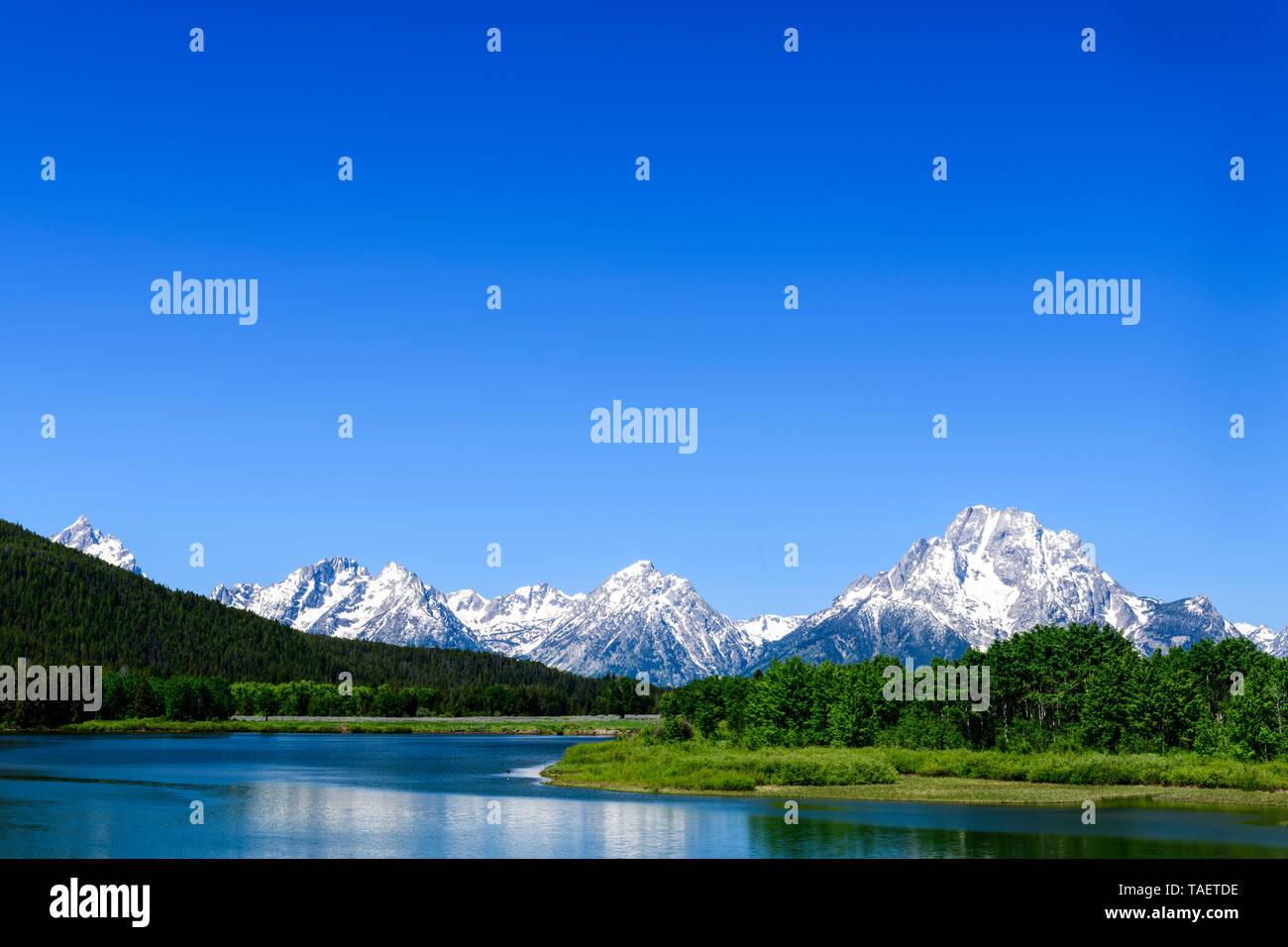 Mt. Moran e il fiume Snake in Grand Teton National Park vicino a Jackson Hole, Wyoming negli Stati Uniti. Foto Stock