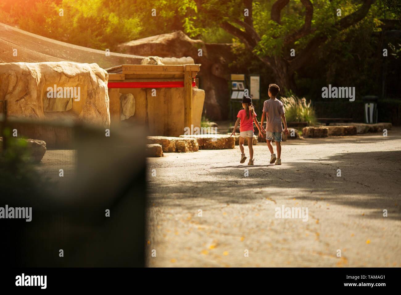 Un ragazzo e una ragazza camminare intorno allo zoo Immagini Stock