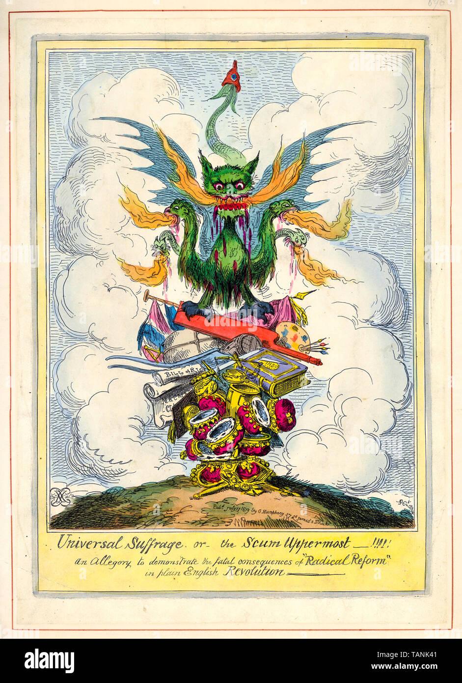 Il suffragio universale o la feccia rivolta verso l'alto, cartoon politico, il voto riforma, incisione, 1819 Immagini Stock