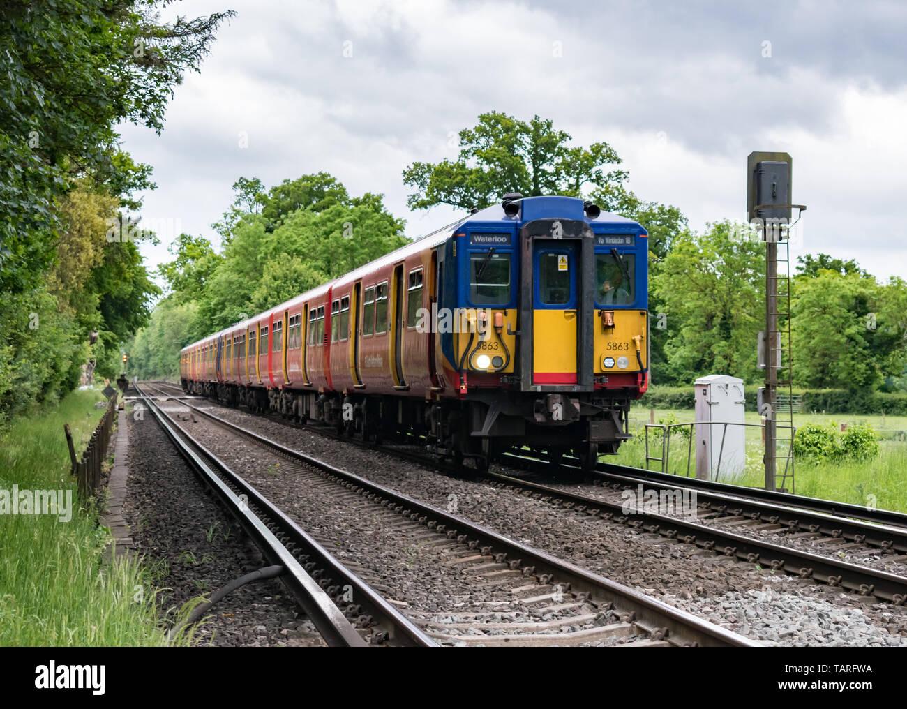 Un treno di onde di driver come la sua classe 455 South Western Railway passenger service treno passa un segnale in la campagna del Surrey, voce di Waterloo. Foto Stock