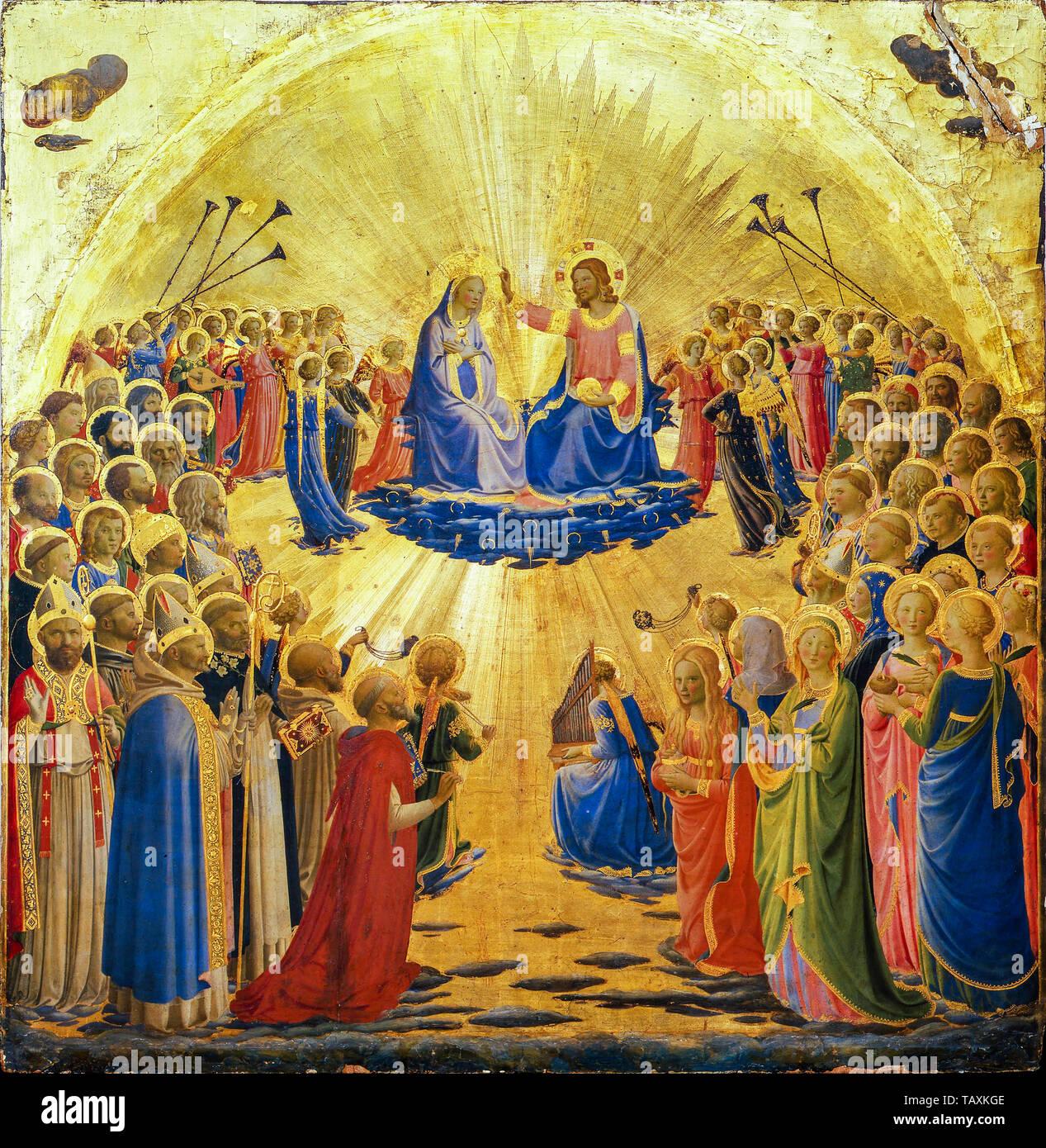 Beato Angelico, l'Incoronazione della Vergine, pittura, circa 1434 Immagini Stock