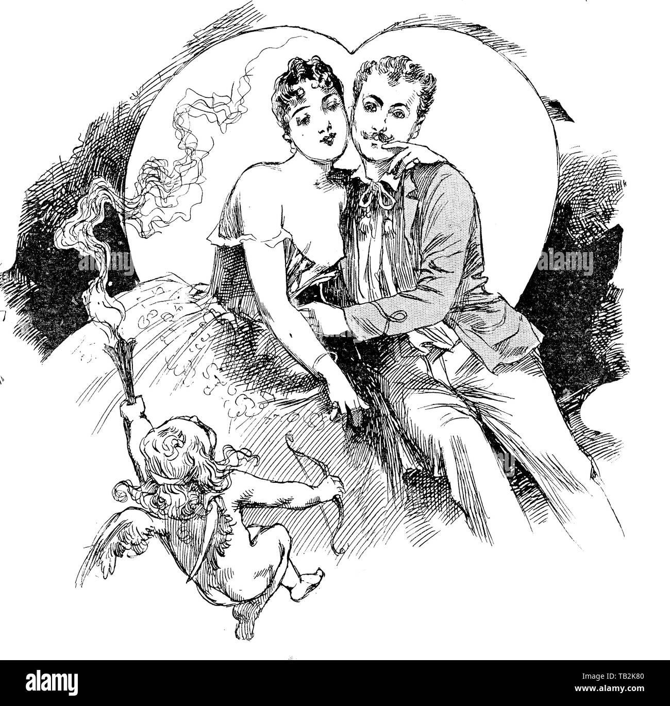 Un paio di amanti sotto l'influenza di Cupido e un grande a forma di cuore ad luna Foto Stock