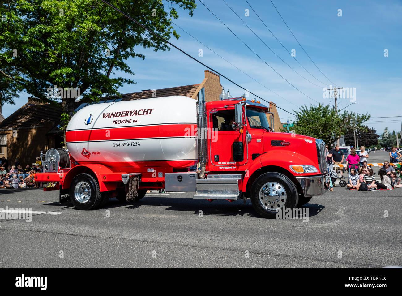 Vanderyacht propano autocisterna nel 2019 Lynden agricoltori parata del giorno. Lynden, Washington Immagini Stock