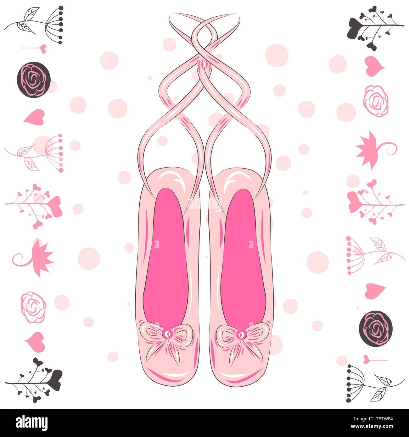 Illustrazione di una coppia di ben indossati ballet pointes scarpe Immagini Stock