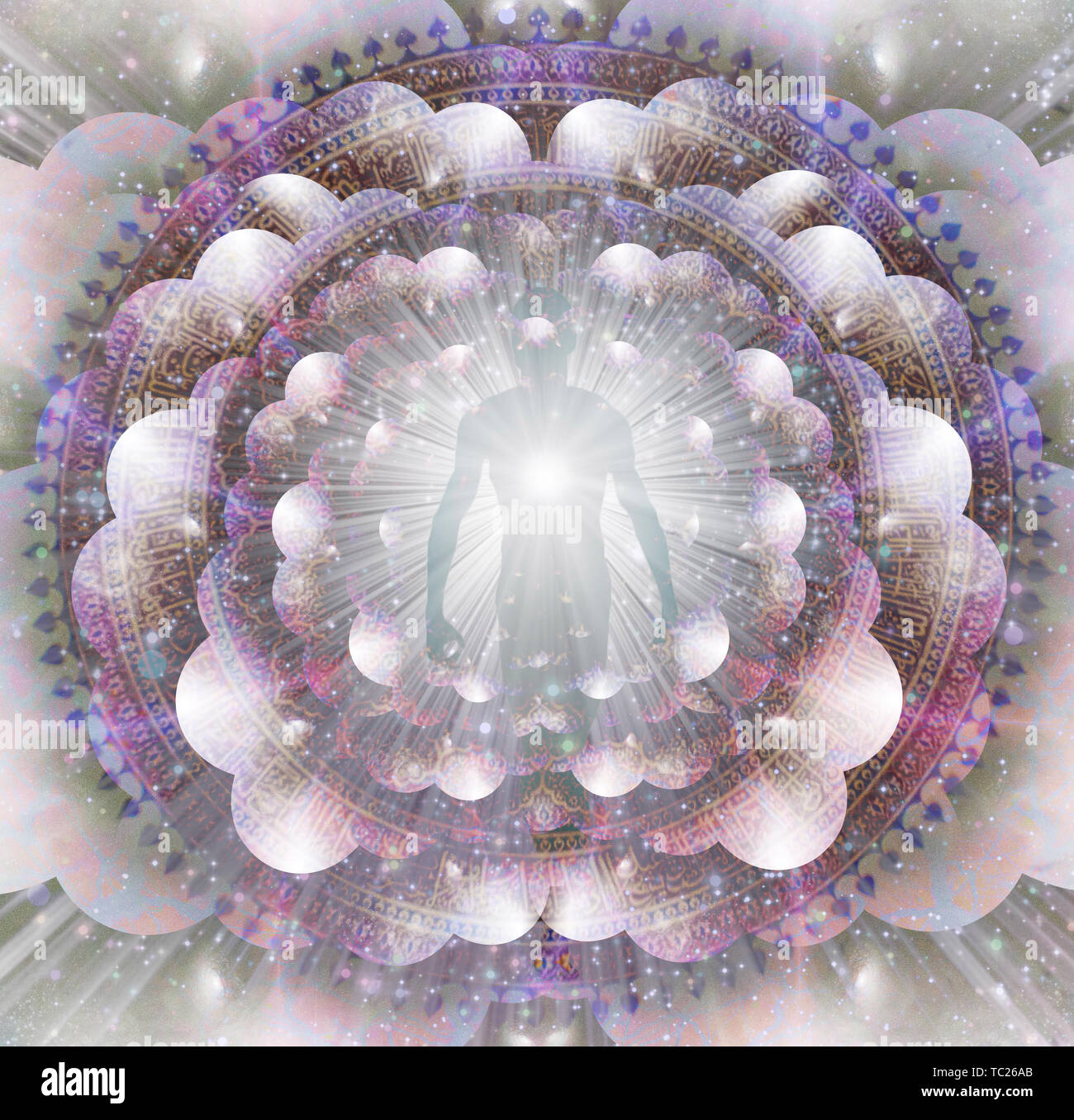 Shining aura e raggi di luce. Mandala Immagini Stock