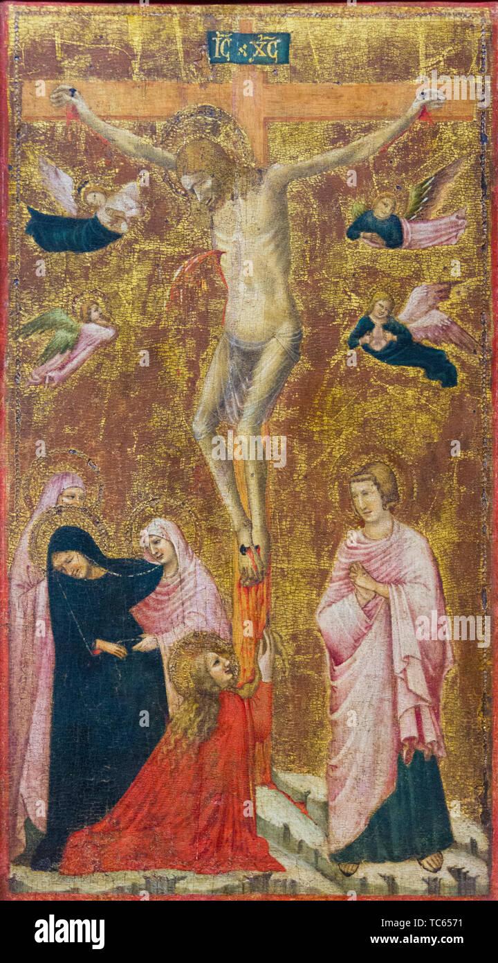 Il dipinto della crocifissione di Gesù Cristo. Attualmente nel Castello Visconteo. Immagini Stock