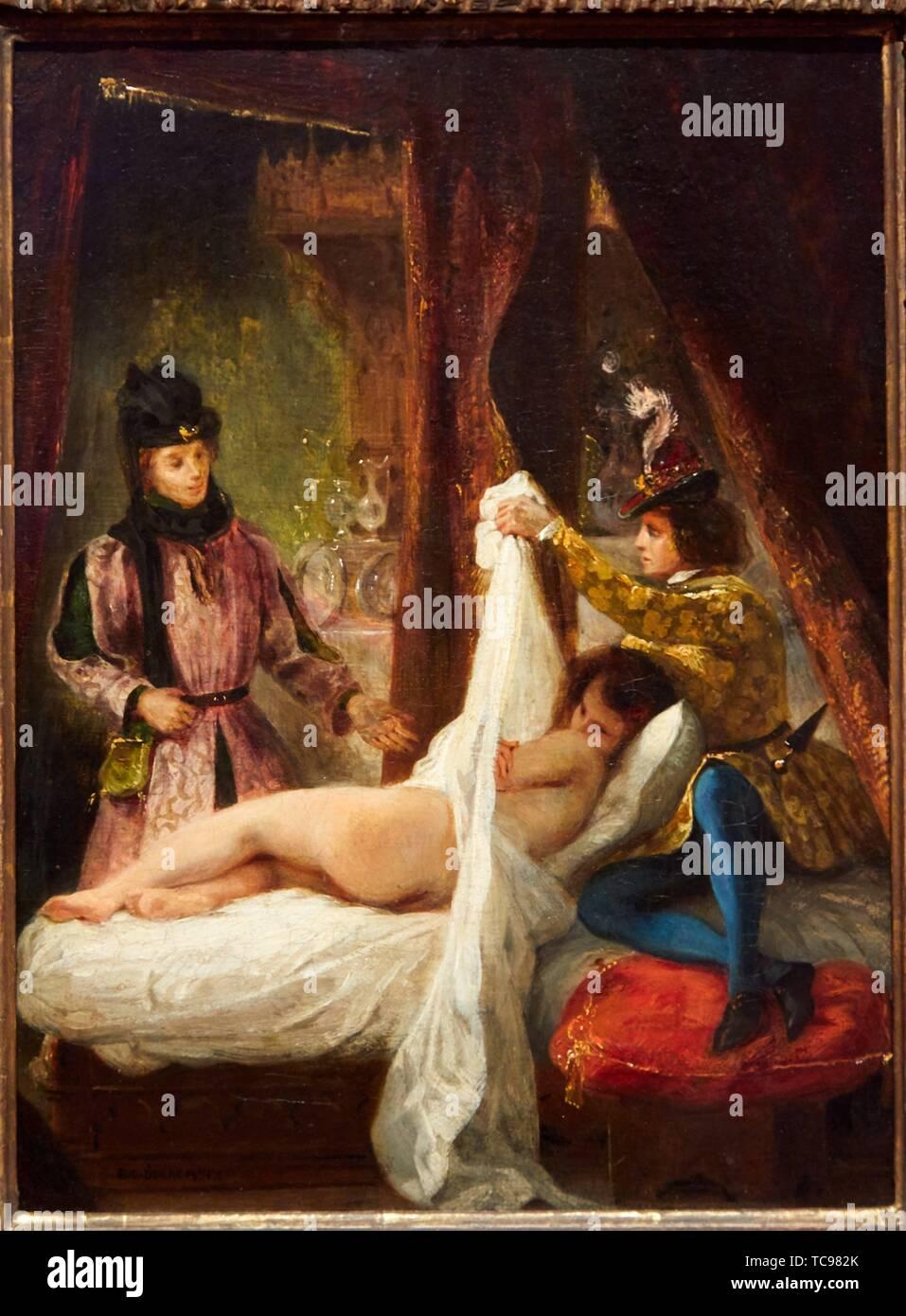 '''Il Duca d'Orleans che mostra la sua amante'', 1825-1826, Eugène Delacroix, Museo Thyssen Bornemisza, Madrid, Spagna, Europa Immagini Stock