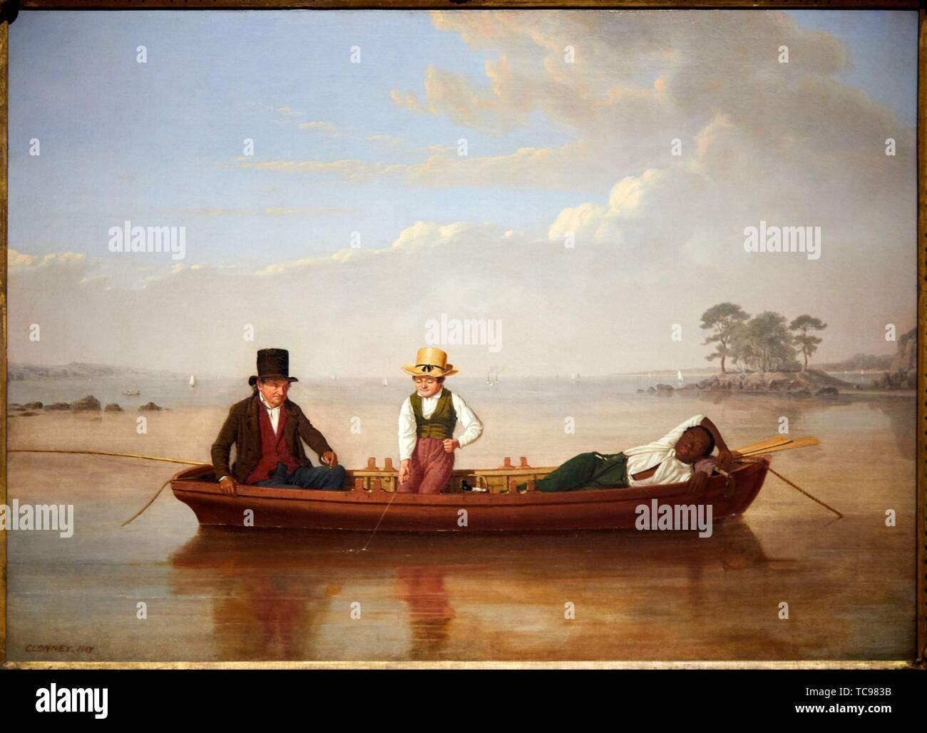 '''Partito di pesca su Long Island Sound off New Rochelle'', 1847, James Goodwin Clonney, Museo Thyssen Bornemisza, Madrid, Spagna, Europa Foto Stock