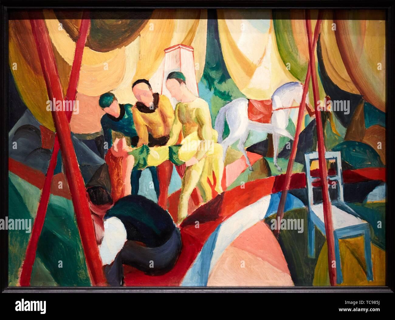 '''Circus'', 1913, August Macke, Museo Thyssen Bornemisza, Madrid, Spagna, Europa Immagini Stock