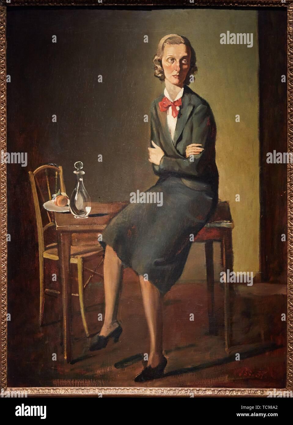 '''Ritratto di Signora Paolo Cooley'' 1937, Balthus, Museo Thyssen Bornemisza, Madrid, Spagna, Europa Immagini Stock