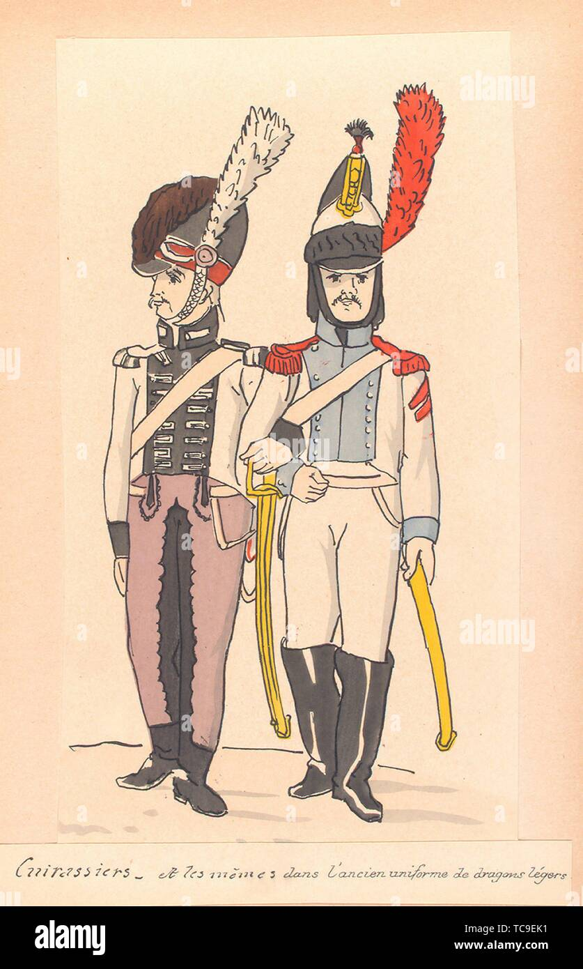 Cuirassiers, una les même [ 2-e reg-t] dans l'ancien uniforme de dragons légers. Vinkhuijzen, Hendrik Jacobus (collettore). La collezione Vinkhuijzen Foto Stock