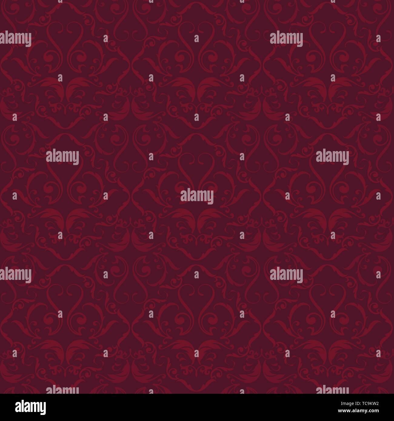 Illustrazione Vettoriale. Velluto rosso fiorire ornate seamless sfondo. Stile semplice. Immagini Stock
