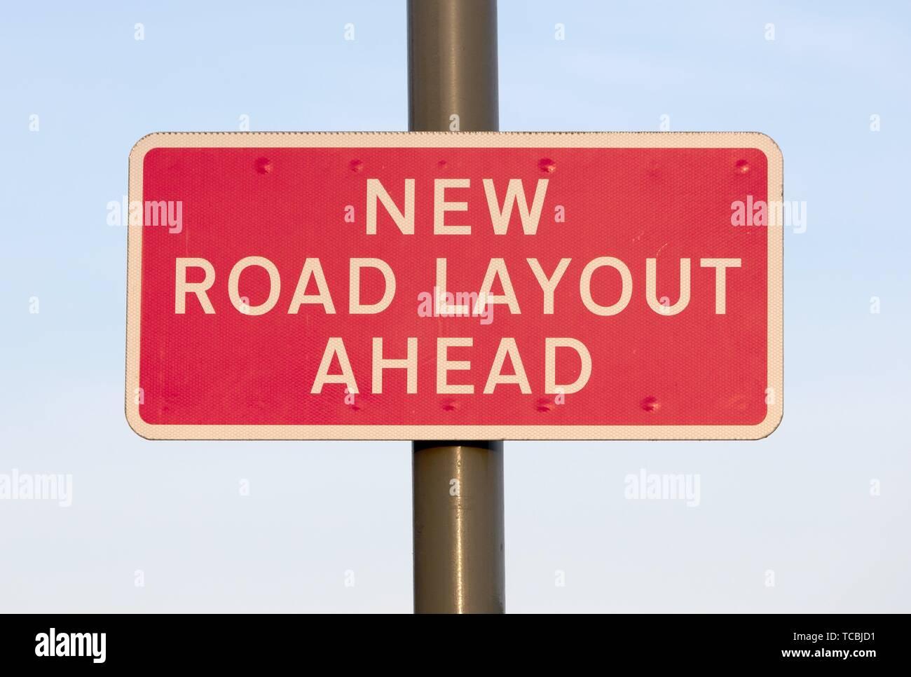 Nuovo layout su strada segno a Londra. Immagini Stock