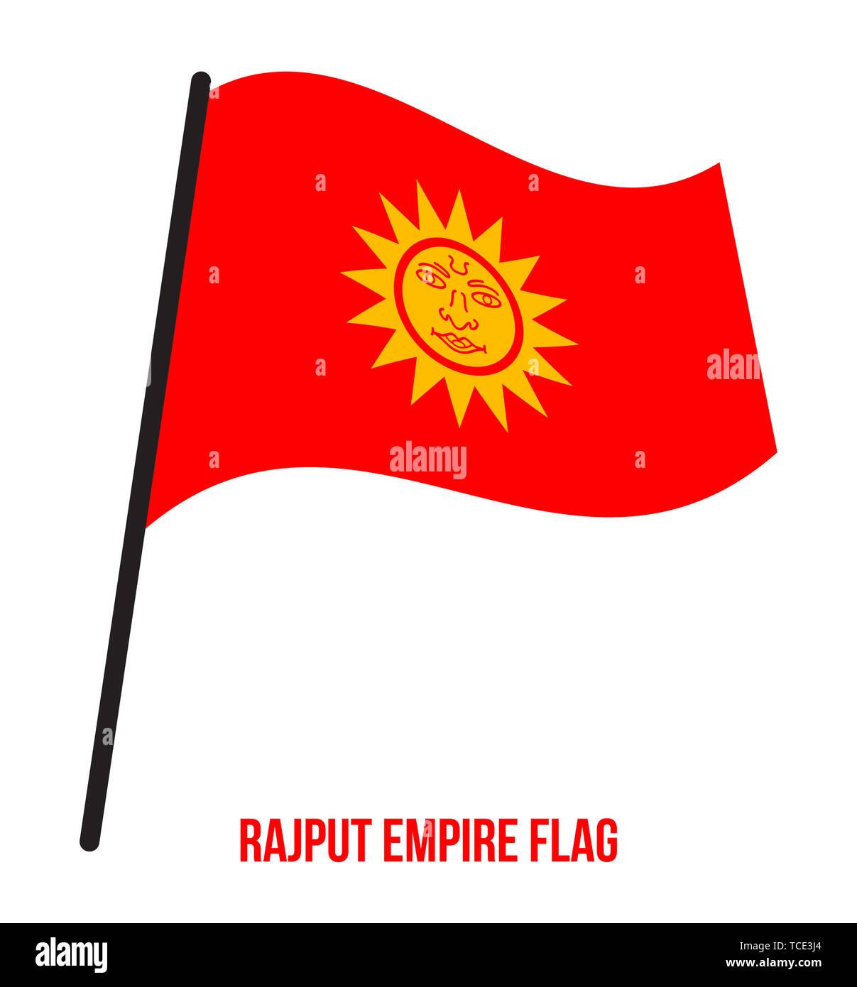 Rajput Impero (647-1192) bandiera sventola illustrazione vettoriale su sfondo bianco. Un flag di zafferano con un simbolo del sole nel mezzo. Immagini Stock