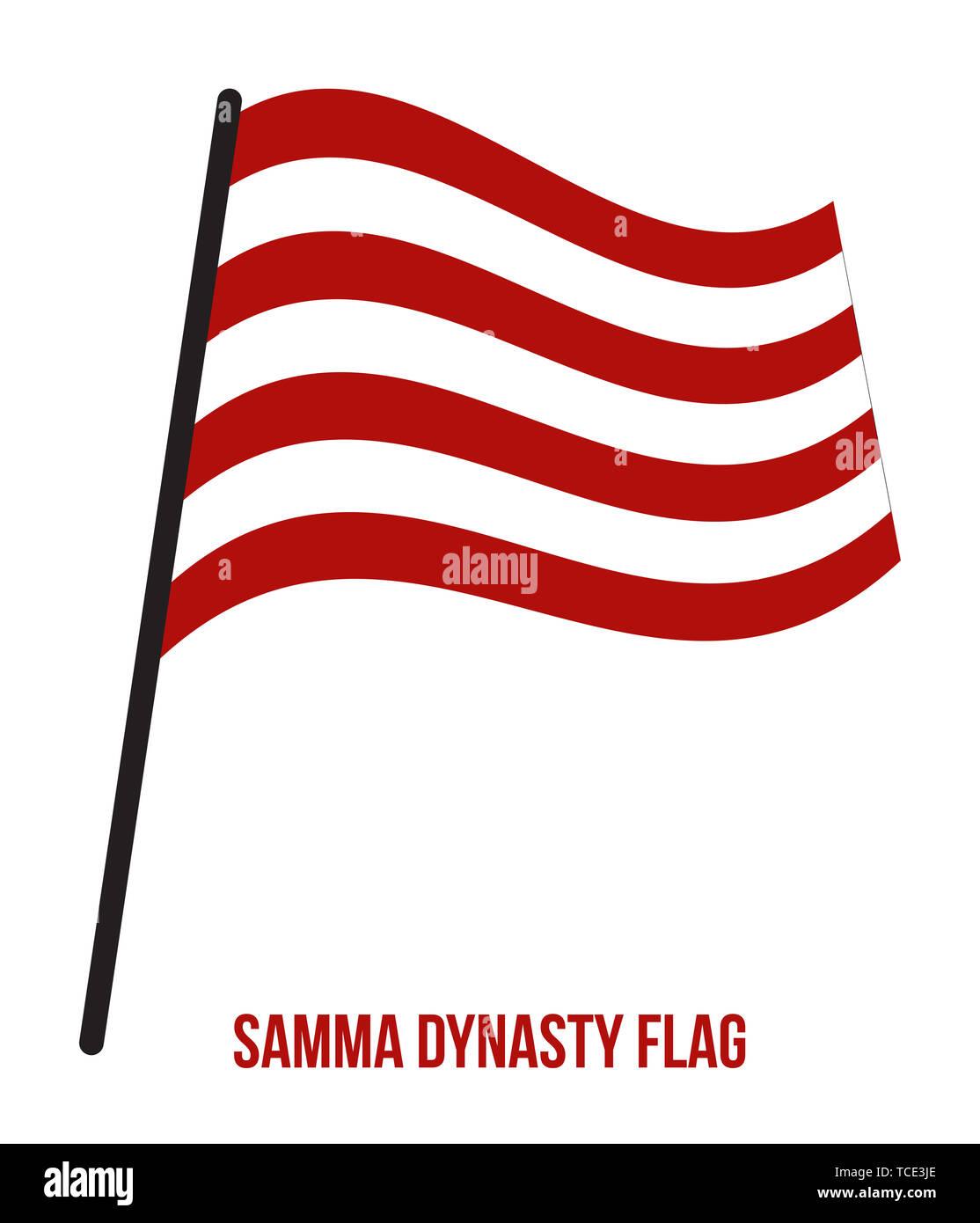 Samma dinastia (1351-1524) bandiera sventola illustrazione vettoriale su sfondo bianco. Il Samma dinastia era un musulmano Rajput Accendere il subcontinente indiano. Immagini Stock