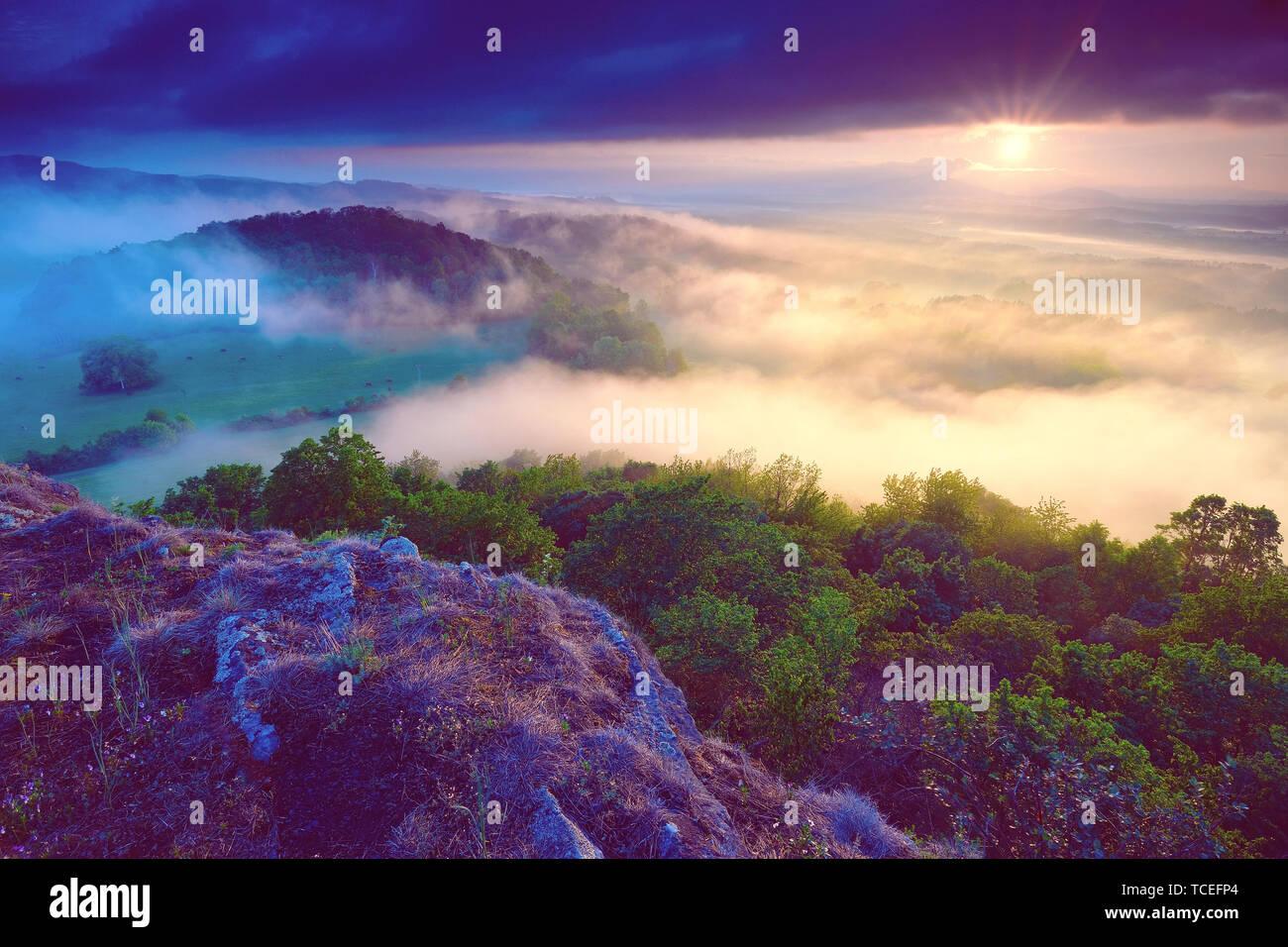 Trasognata forrest. Sunrise nuvole. Forest Hill.nebbia d'autunno. Misty picchi. Paesaggio di nebbia. Rock top Foto Stock