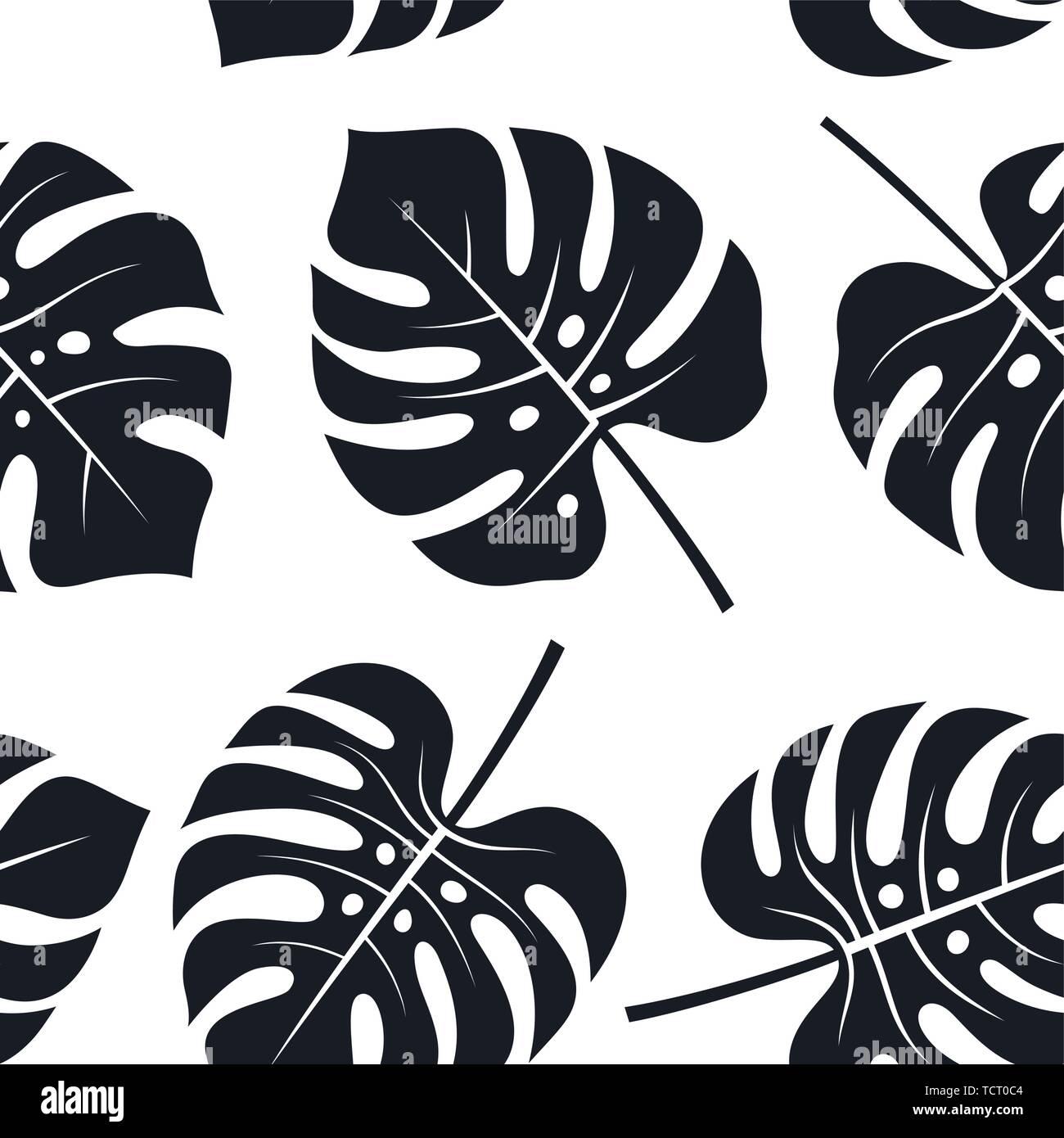 Modello senza cuciture con foglie tropicali. Floreali, sfondo bianco e nero Sfondi esotici, vettori Immagini Stock