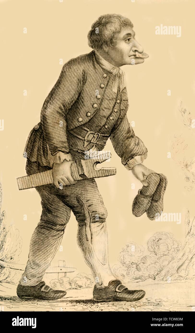 """""""Stivali vecchi, un ben noto personaggio a Rippon nello Yorkshire', 1821. Ritratto di stivali vecchi (c1692-1762), 'un eccentrico sciuscià"""" che era 'benedetta con una plentitude del naso e mento"""". Di persone """"frequentemente gli diede il denaro, a condizione che egli sarebbe tenere tra il suo naso e mento; tale richiesta ha sempre rispettato e il foro spegnere il tesoro con grande soddisfazione"""". Da """"Meraviglioso caratteri: comprendenti memorie e aneddoti dei più notevoli a persone di ogni età e nazione"""", Vol. II, da Henry Wilson. [J. Robins e Co. Albion premere, London, 1821] Immagini Stock"""