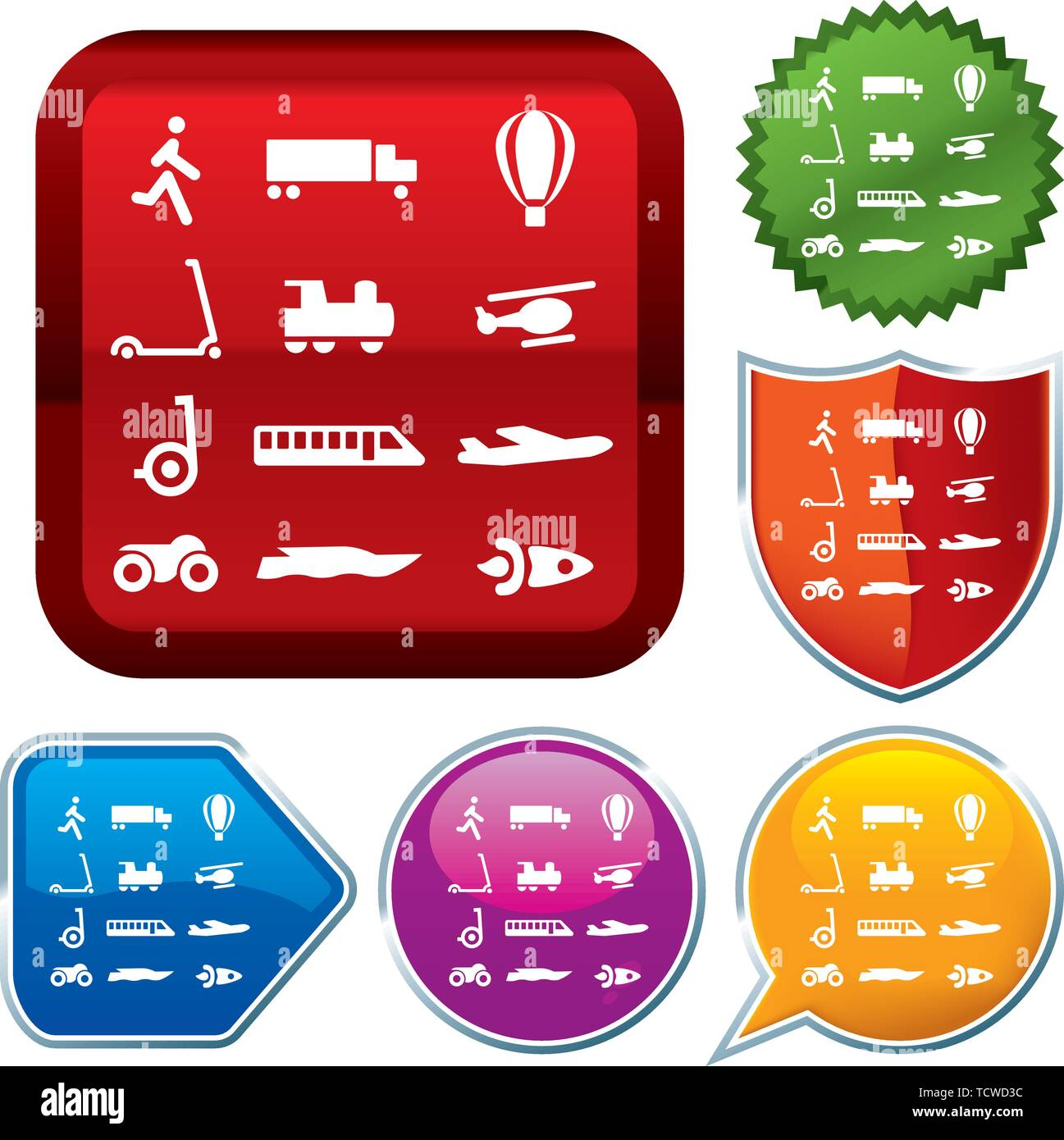 Illustrazione Vettoriale. Imposta icona lucido serie sui pulsanti. I mezzi di trasporto. Immagini Stock