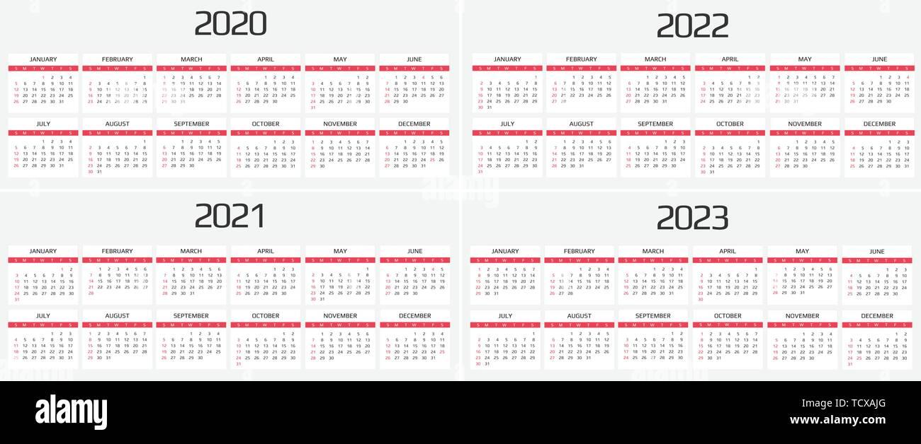 Il calendario 2020, 2021, 2022, 2023 modello. Dodici mesi