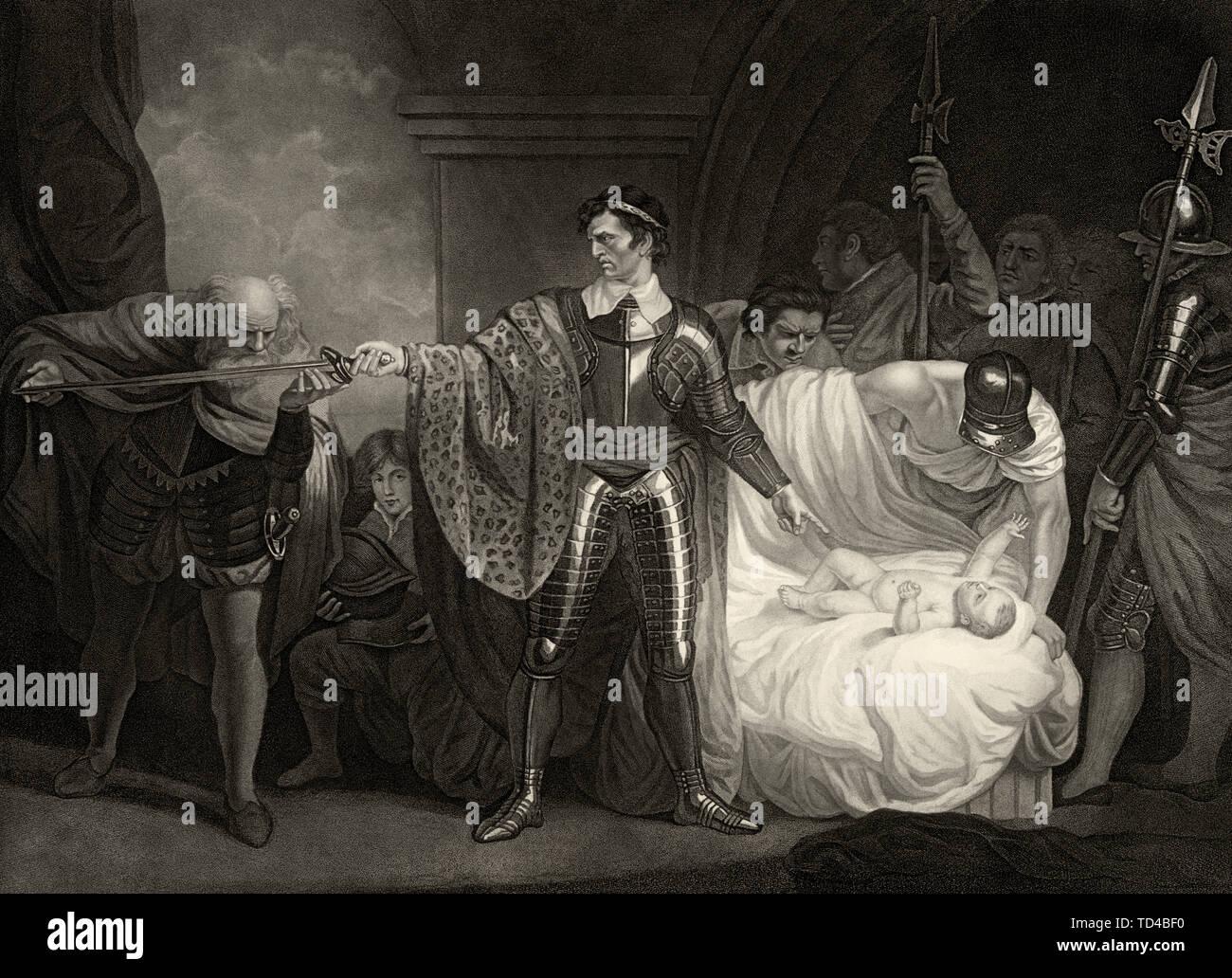 Atto II, scena 3: l'inverno del racconto di William Shakespeare. Antigonus giura la sua lealtà alla Leontes, nel tentativo di salvare Leontes' giovane figlia di vita. Immagini Stock