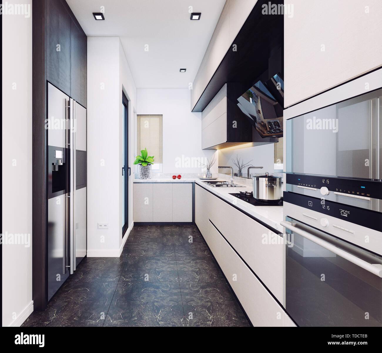 Cucina moderna progettazione di interni. 3D rendering ...