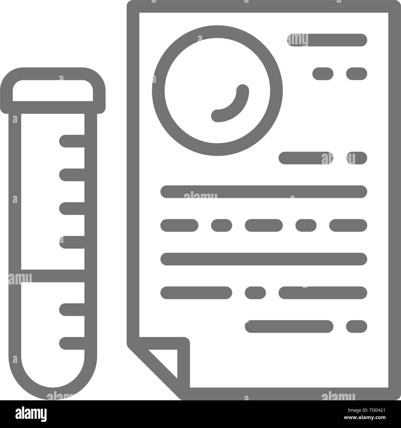 Medical tubo di vetro con documento, i test del DNA, test di paternità risultato icona linea. Immagini Stock