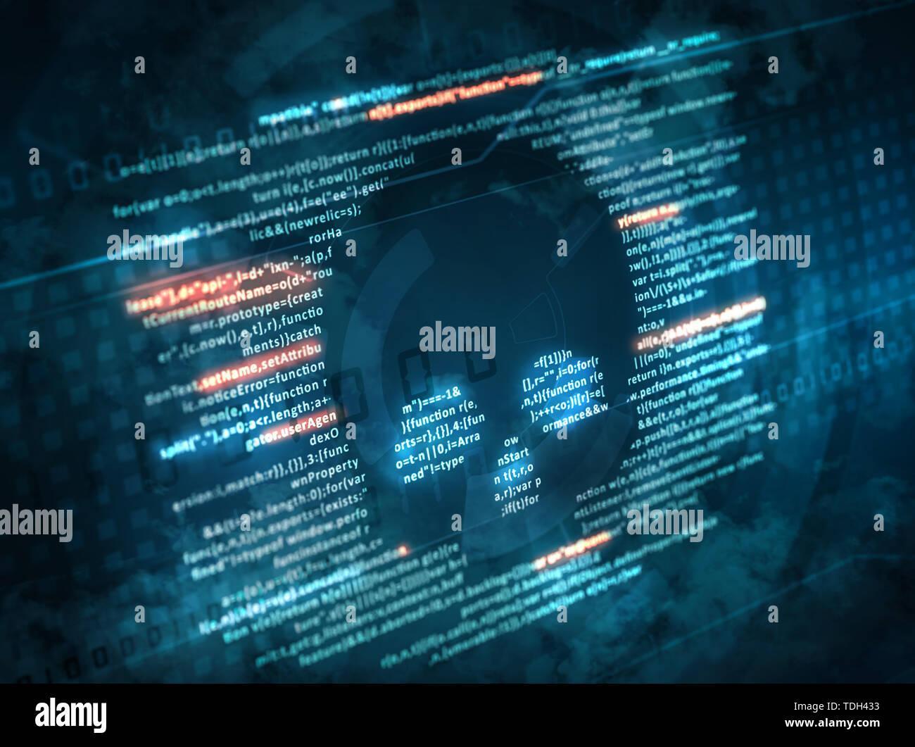 Computer virus attacco di software dannoso. Codice di computer su uno schermo con un simbolo del cranio Foto Stock