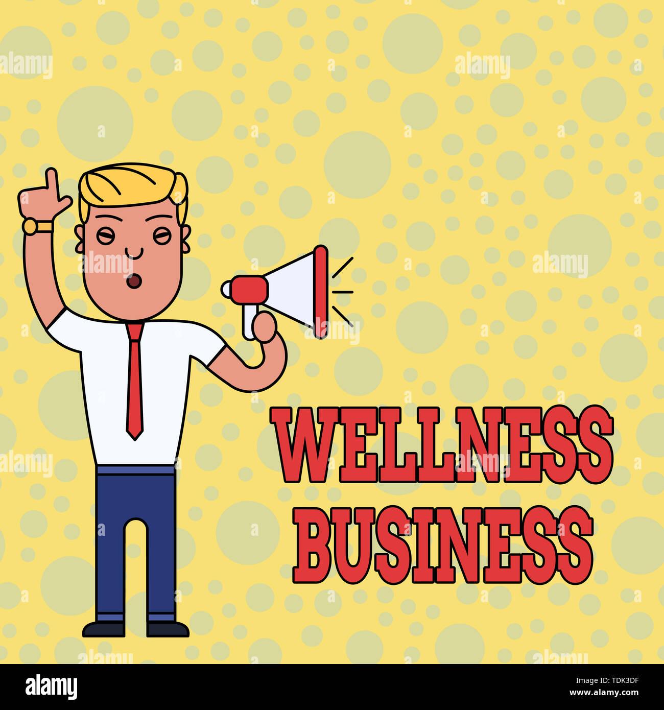 La scrittura della nota mostra Wellness Business. Il concetto di business per Professional venture concentrando la salute di mente e corpo uomo in piedi con la destra sollevata Immagini Stock