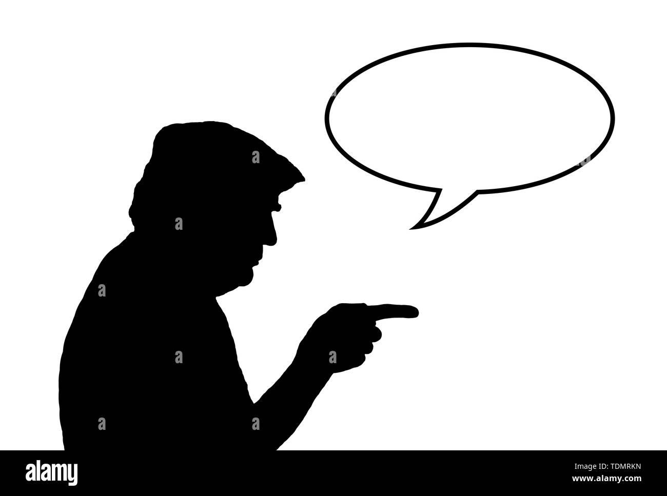 Illustrazione della silhouette di Stati Uniti d'America presidente americano Donald Trump dispositivo di puntamento con un vuoto discorso bolla (word palloncino) per il testo. Copyspace. Copia dello spazio. Immagini Stock