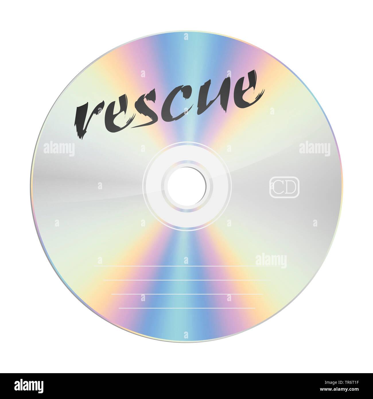 CD con il titolo il salvataggio Immagini Stock