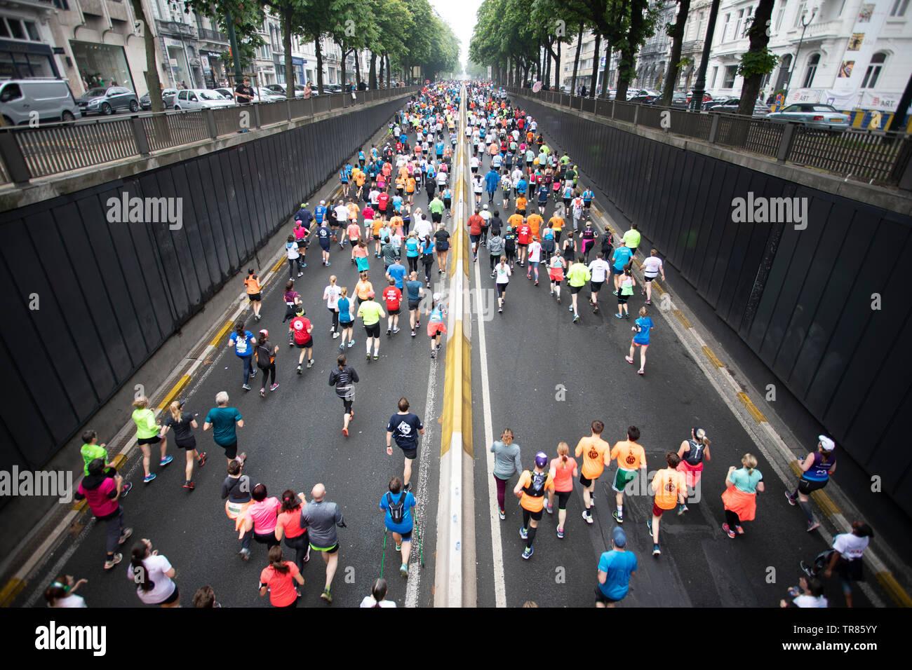 Bruxelles 20 km, esecuzione di Bruxelles a 20 km, mezza maratona, Bruxelles, Belgio Immagini Stock