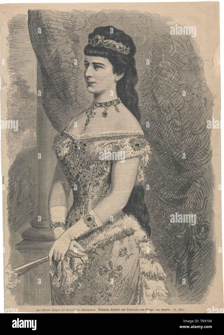 Elisabeth, Imperatrice d'Austria, invertita facsimile stampato sulla base di pittura di Georg Raab, 1878, dalla causa di nozze d'argento (1879), , Additional-Rights-Clearance-Info-Not-Available Immagini Stock