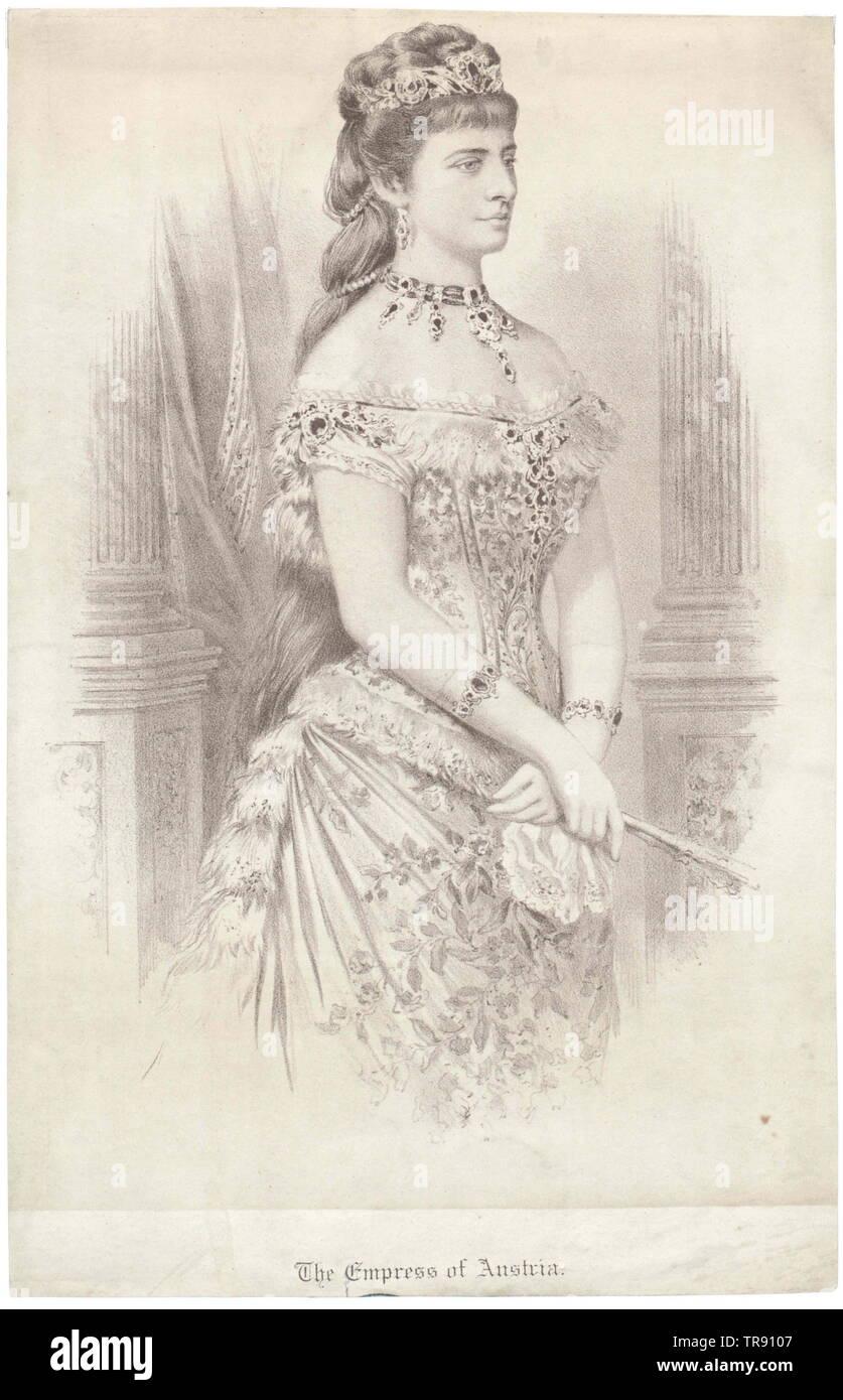 Elisabeth, Imperatrice d'Austria, facsimile stampato sulla base di pittura di Georg Raab, 1878, dalla causa di nozze d'argento (1879), , Additional-Rights-Clearance-Info-Not-Available Immagini Stock