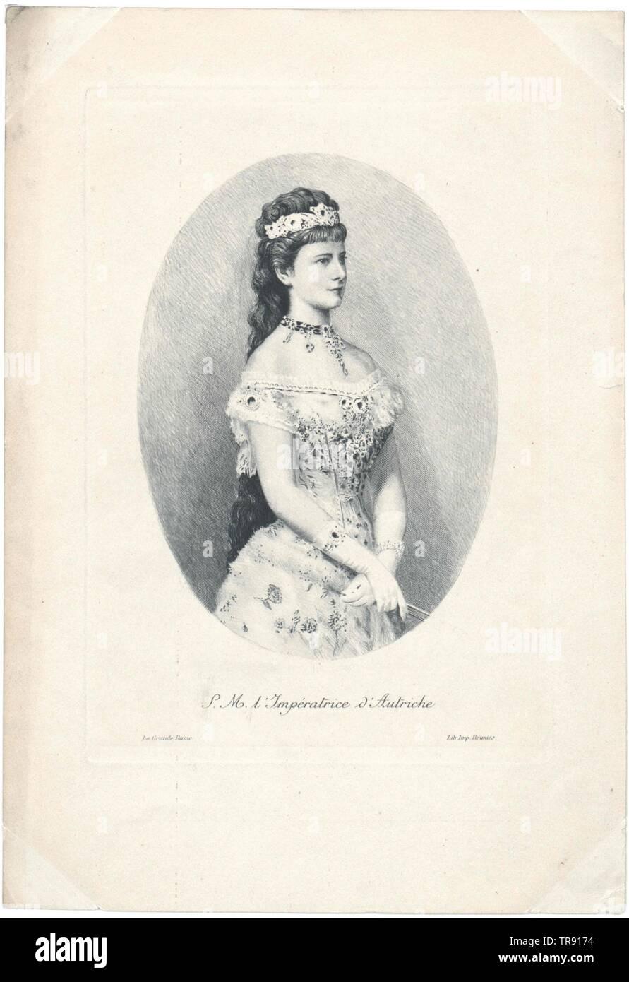 Elisabeth, Imperatrice d'Austria, facsimile stampato sulla base di pittura di Georg Raab, 1878, dalla causa di nozze d'argento (1879), dettaglio Additional-Rights-Clearance-Info-Not-Available Immagini Stock